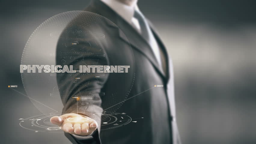 Physical Internet with hologram businessman concept