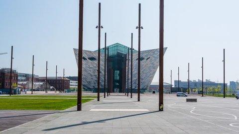 Titanic Belfast, Belfast, Northern Ireland, UK, Timelapse Hyperlapse 4K Video from Shipyard, May 2017