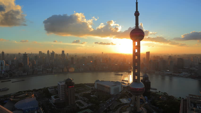 SHANGHAI, CHINA - CIRCA JULY 2012: Timelapse video of  Shanghai, China Skyline at Sunset circa July 2012. Oriental Pearl Tower and Huangpu River.