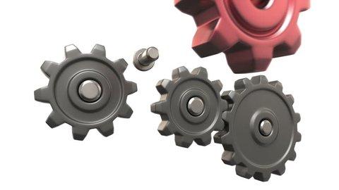 broken gears system, 3d animation