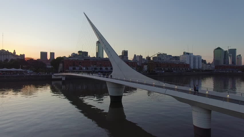flying along pedestrian bridge in Buenos Aires