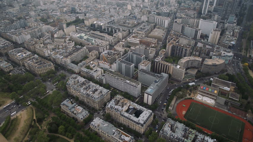 View of cityscape of Paris, Ile de France, France from Seine river to stadium from the Centre sportif Emile Anthoine | Shutterstock HD Video #27506149
