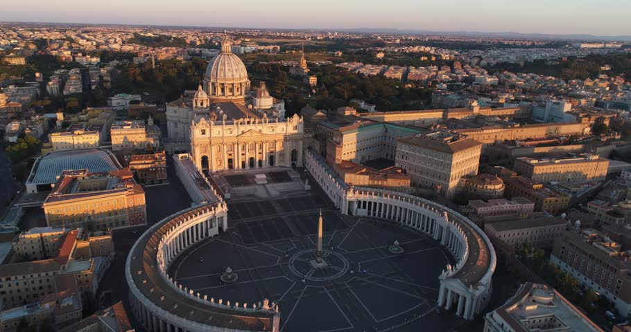 Aerial view of Rome skyline cityscape with Vatican City landmark at sunrise in Italy