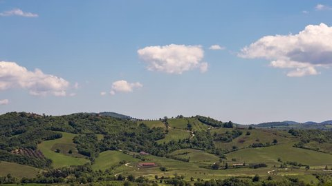 4K Timelapse  Clouds over the hills of the beautiful Tuscany