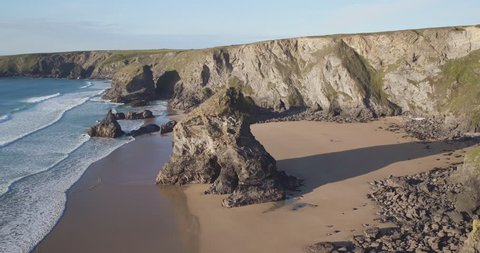 United Kingdom. United Kingdom, Cornwall, Rugged Cornish coastlineand rock stacks at Bedruthan Steps