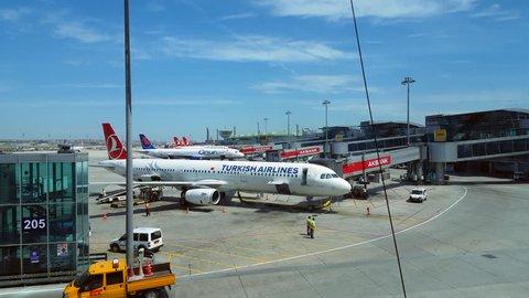 INDIA - CIRCA JUNE 2016 - Turkish Airlines airplane at terminal gate skybridge, Istanbul Atatürk Airport
