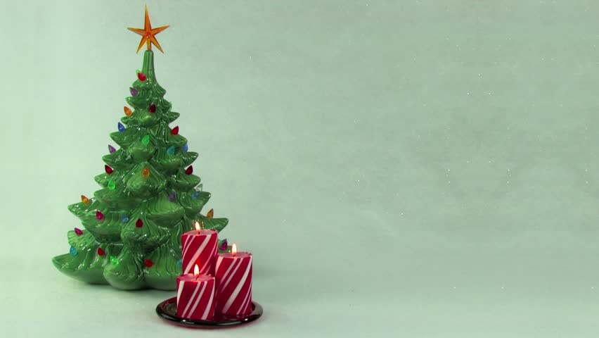 Camera Christmas Tree Ornament Part - 46: Three Christmas Candles With Christmas Tree - HD Stock Video Clip