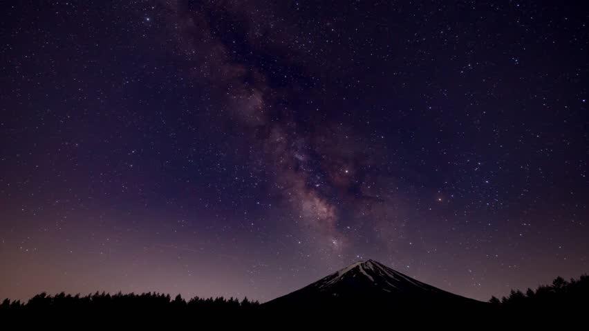 Night starry sky (Mt.Fuji Fujisan) Milky way | Shutterstock HD Video #27592039