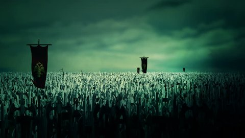 Thousands of soldiers of the roman byzantine empire marching to battle