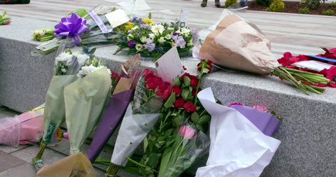 Flowers Left In Memory Of Pc Keith Palmer Outside New Scotland Yard; Curtis Green Building Victoria Embankment