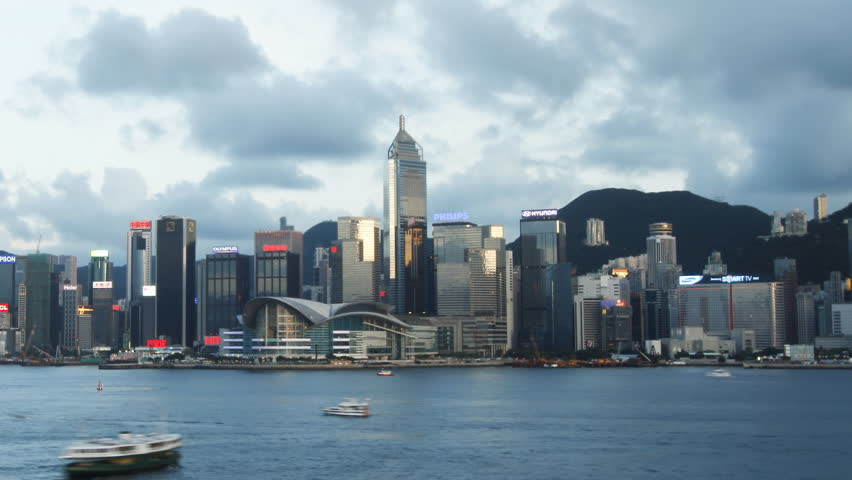 HONG KONG - JULY 8: Time lapse of Hong Kong skyline day to night on July 8, 2012 in Hong Kong, China.