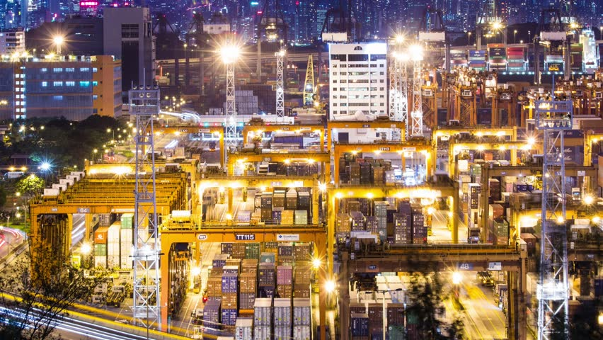Kwai Tsing, Hong Kong, 8 June 2017 -: Global freight shipping and export with cranes loading cargo   Shutterstock HD Video #27648367