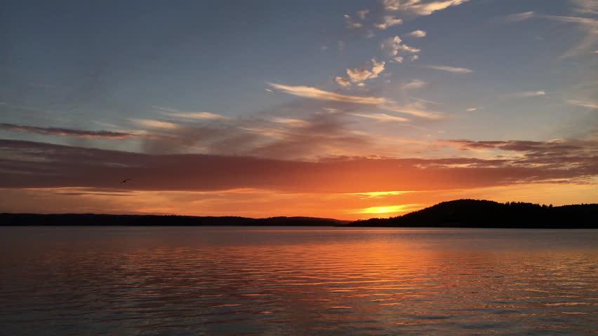 Sunset over ocean with bird in archipelago | Shutterstock HD Video #27683842