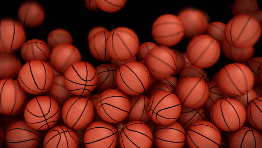 Basketballs falling, filling the picture, transition with alpha