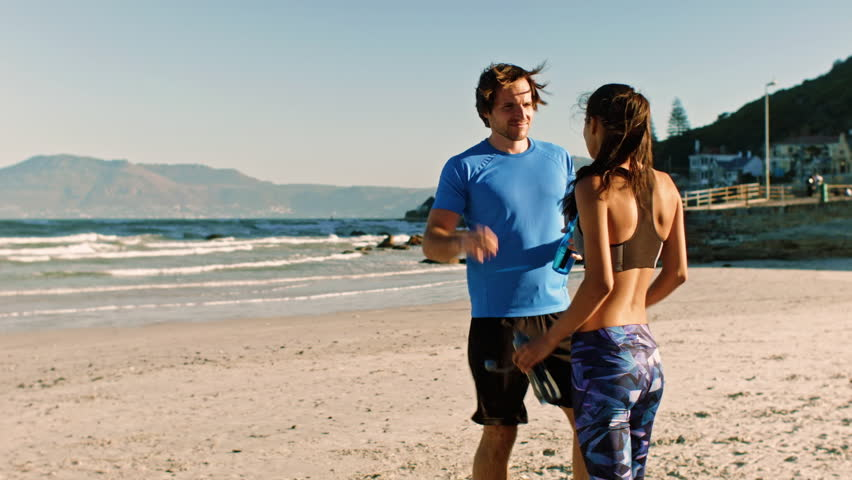 Fit Athletic Couple High Five On Beach S Coast After Exercising Running Fitness Set Hd
