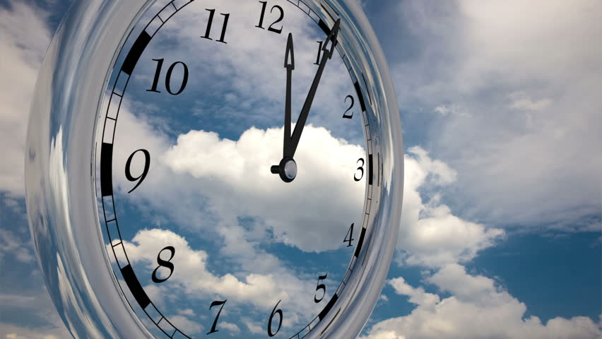 Time lapse, Time runs fast, watch running twelve hours on sky background with clouds.