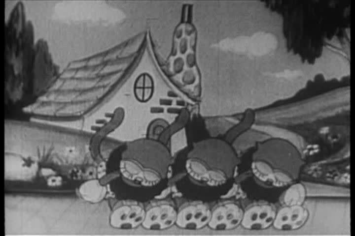 1930s: In this 1931 cartoon, a glee club performance starts with a group song, then a gang of kittens performing.