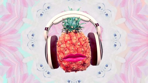 DJ Pineapple Party on a floral background Minimal art