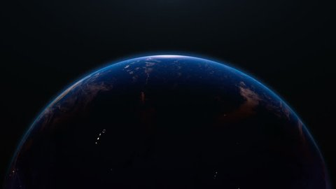 Earth view from space with night city lights. Oceania and Asia.  Stunning view of earth from space. Cities are visible on the night side.  Earth image maps © NASA