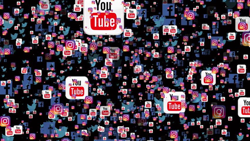KIEV, UKRAINE, JUNE 10, 2017: 4K- Icons of Facebook, Twitter, Instagram and Youtube Social Network. A social networking service (also social networking site, SNS or social media) is an online platform