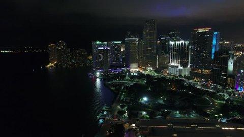MIAMI, FL, USA - JUNE 11, 2017: Night aerial tour of Downtown Miami 4k 24p prores