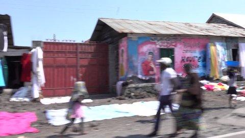 Goma City, Democratic Republic Congo, 9 January 2017, street life in Goma City