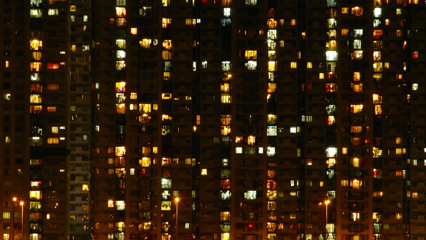 Time Lapse Of Apartment Building At Night Stock Footage Video