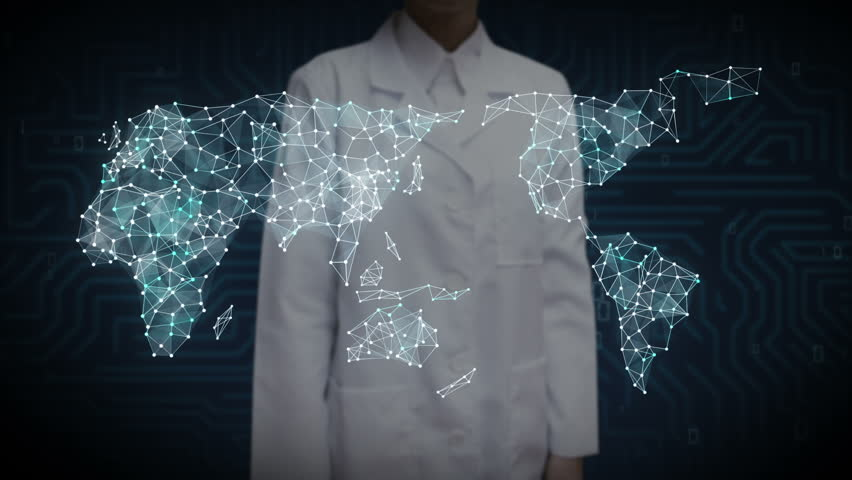 3D Animation. Female scientist, engineer touching screen, Dots connecting line, dots makes global world map, internet of things. | Shutterstock HD Video #27810826