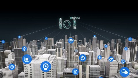 3D Animation. Forward moving,  Various sensor icon on Smart city, connecting 'IOT' technology.