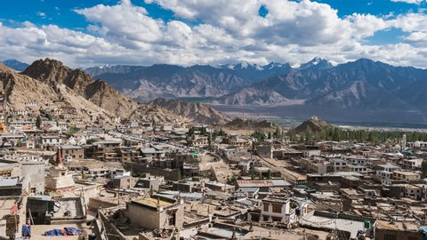 Clouds and Shadows Time-lapse footage: Shot at Leh city in Ladakh Region of India. Surrounded by Himalayan Mountain Range Leh city is one of the highest altitude tourist destinations in India