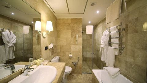 YEREVAN - JAN 5, 2017: Lights turn off and turn on in the bathroom in the Hotel National. Business-class National Hotel, part of the international group Luxury Group, was opened in 2015