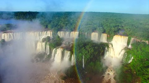 Largest waterfall in the world. Rare aerial view of Iguazu Falls, 4K