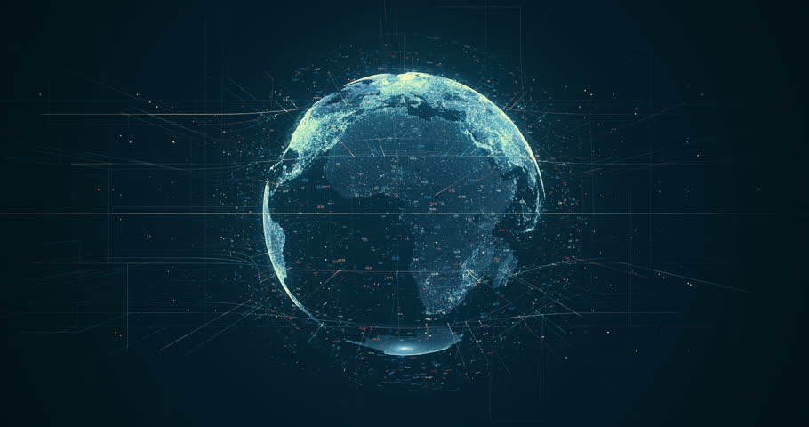 Digital data globe - abstract 3D rendering of a scientific technology data network surrounding planet earth conveying connectivity, complexity and data flood of modern digital age | Shutterstock HD Video #27873328