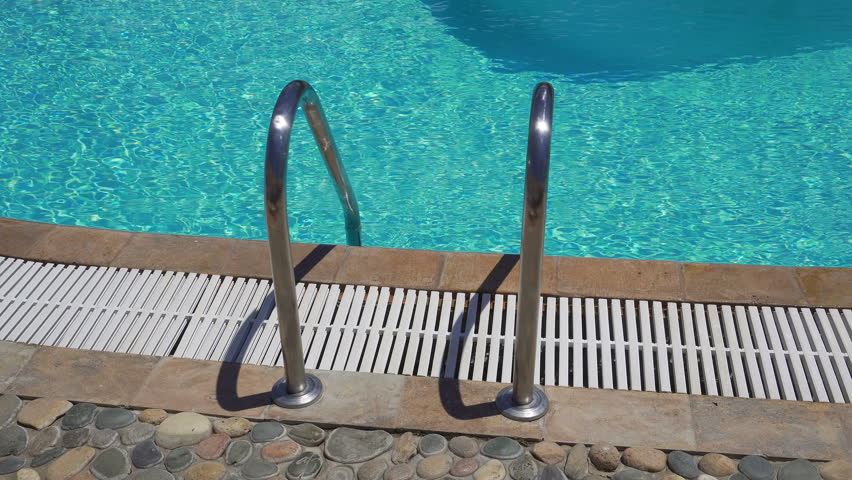 Outdoor Swimming Pool Ladder With No Diving Sign On Poolside. Grab ...