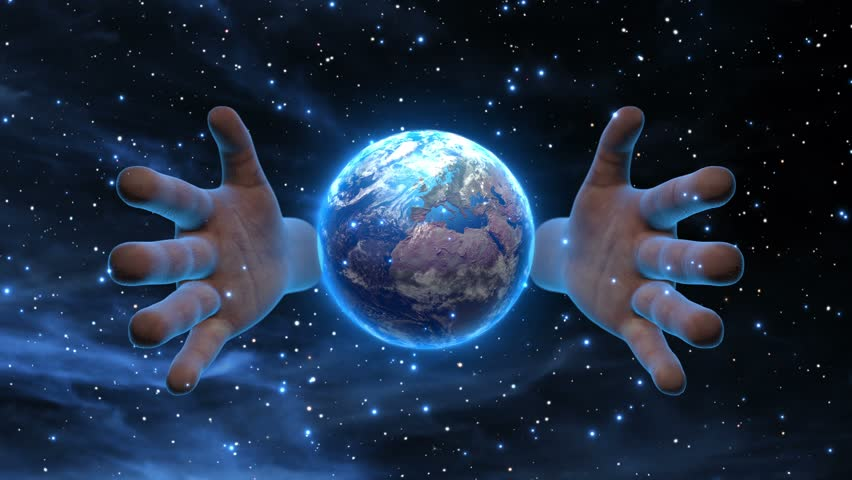 Giant Godly Hands over the Planet Earth Version 3 Still Version Science Fiction Space Fantasy Seamless Looping Motion Background Video Background Loop