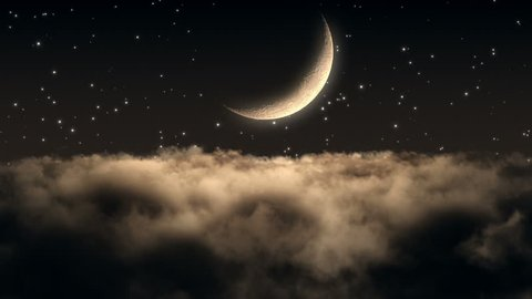 Flying Through Dense Clouds at Night with Beautiful Crescent Moon and Twinkling Stars in The Background Seamless Looping Motion Background Animated Video Backdrop Amber Brown Orange Sepia
