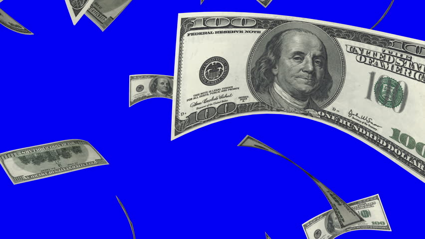 Falling Dollars (Loop on Blue Screen). 100 dollars bills. Perfect for your own background. Seamless loop, no motion blur, clean mask on blue screen.