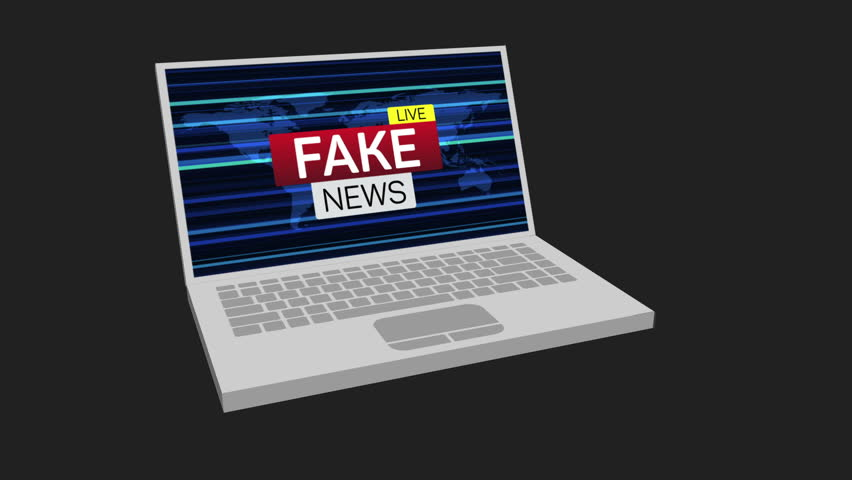 3d notebook or laptop show up fake news live banner on worldmap and rotate. Available in 4K FullHD and HD video render footage with alpha matte