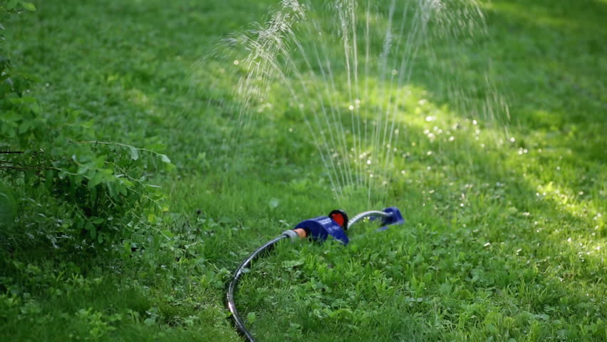 Lawn sprinkler system on garden in grass. Sprinkle sprays water on the green grass in the garden on a background of trees when the sun shines | Shutterstock HD Video #27960199