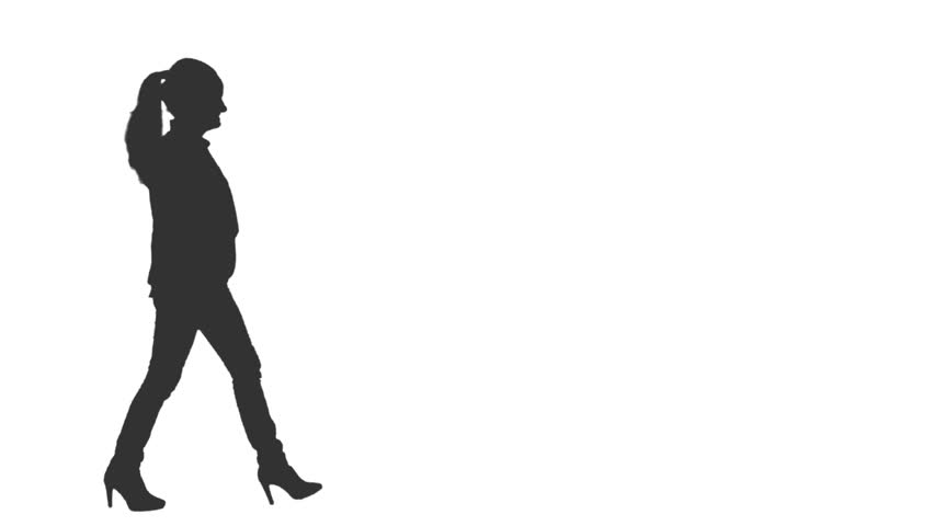 Silhouette of young woman walks on transparent background, Side view, Full HD footage with alpha channel