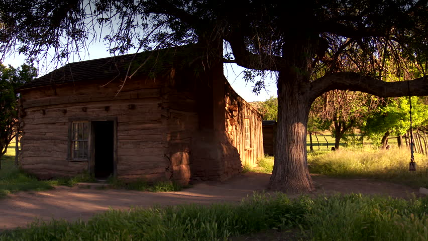 Old pioneer log cabin at Grafton Ghost town, Utah