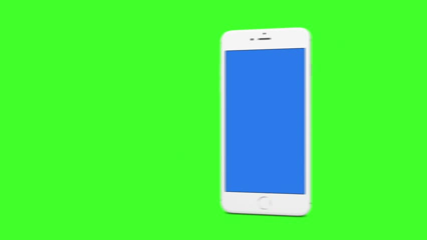 Bangkok, Thailand - June 20: white iphone 6 with blue screen animation on green screen background for matte color