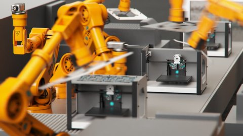 02774 loopable shot, robotic arms building printers on a assembly line