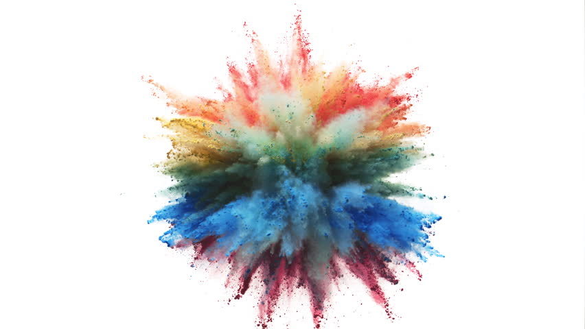 Colorful powder/particles fly after being exploded against white background. Shot with high speed camera, phantom flex 4K. Slow Motion. | Shutterstock HD Video #28039978