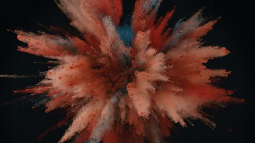 Colorful powder/particles fly after being exploded against black background. Shot with high speed camera, phantom flex 4K. Slow Motion. | Shutterstock HD Video #28039999