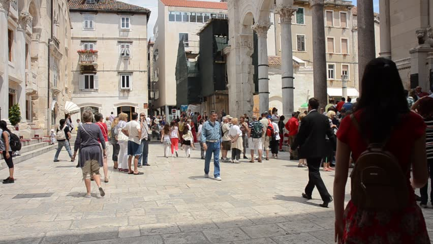 SPLIT, CROATIA - MAY 27: Tourists wander around the ancient Palace of Diocletian on May 27, 2012 in Split, Croatia. The Palace of Diocletian is a UNESCO World Heritage Site.