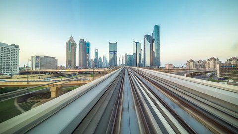 POV timelapse journey on the driverless elevated Rail Metro System, running alongside the Sheikh Zayed Road