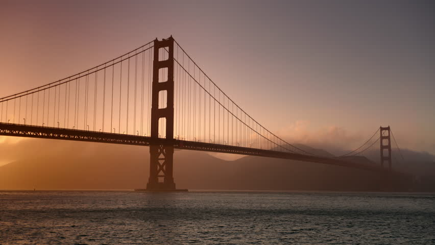 Golden Gate Bridge in San Francisco California in 4K at sunset