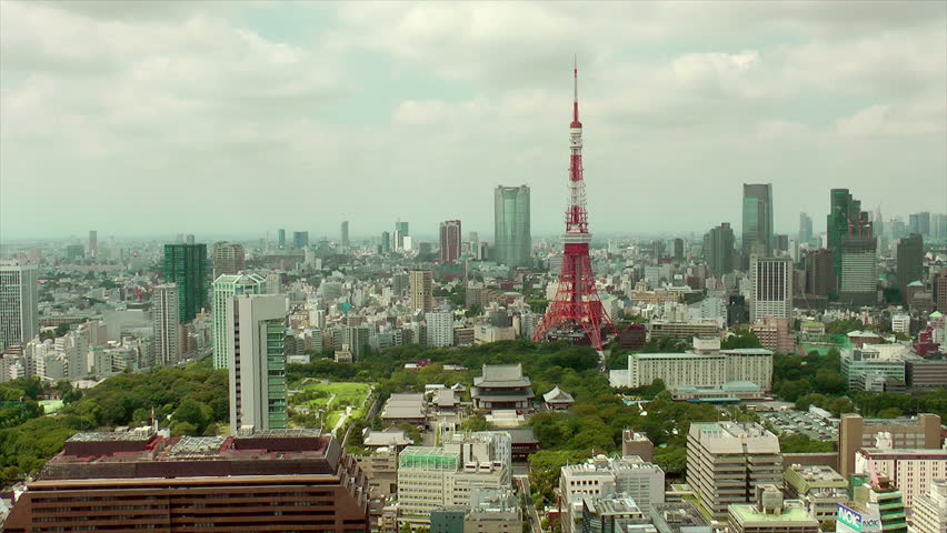 Tokyo Tower and downtown skyline in Tokyo, Japan - time lapse | Shutterstock HD Video #28066675