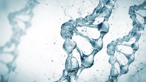DNA molecule in water 3d illustration over white background. HD